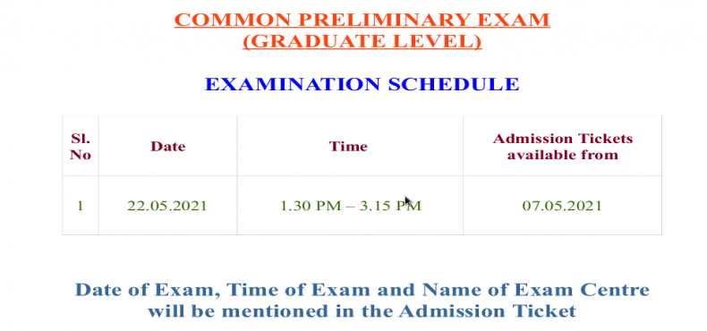 EXAMINATION NOTIFICATION - COMMON PRELIMINARY EXAM (GRADUATE LEVEL)